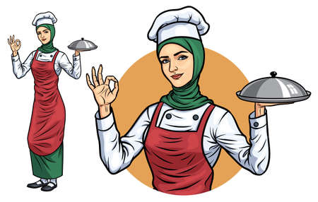 Moslim vrouwelijke chef-kok met hijab