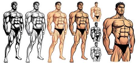 Bodybuilder masculin complet Vecteurs