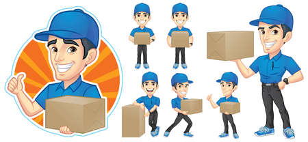 Cartoon Courier Young Man Character Illustration