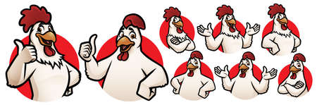Gallo cartone animato e mascotte di pollo