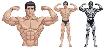 Male Bodybuilder Full Body Stock Vector - 126488420