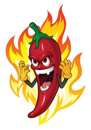 Cartoon-Chili im Feuer