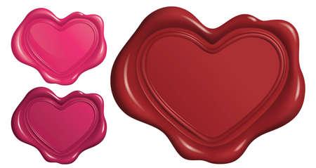 Cachet de cire en forme de symbole de coeur