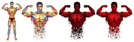 Bodybuilder masculin complet dans un style graphique polygonal coloré