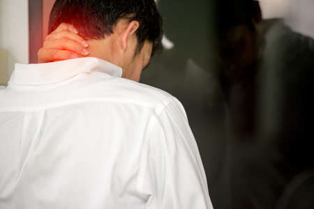 tired businessman: Men with neck pain from office work in business