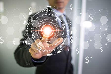 Dupla exposição de mão de homem de negócios, tocando o futuro e circular mundo mapa de rede de linha como o conceito de negócios, globalização, comunicação e inovação