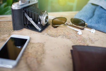 foto carnet: Accessories for travel,wallet,photo camera, smart phone,sunglass,smalltalk and travel map