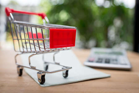 Shopping Online Concept : Mini Shopping Cart On book bank