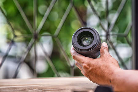 Professional camera lens  reflections.High Dynamic Range tone Stock Photo