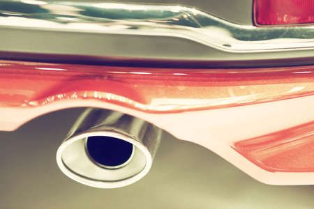 Close up of a car exhaust vintage tone