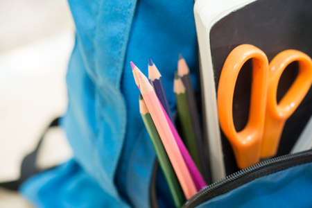 Colorful stationery in bag