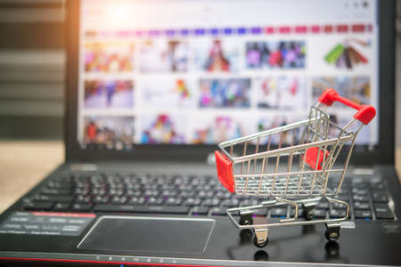 Online shopping on internet concept