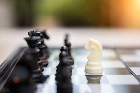 Business leader and confrontation solve problems concept, Chess board game