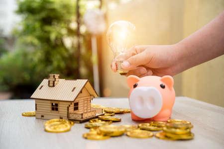 Real estate or home savings - piggy bank,business concept 免版税图像