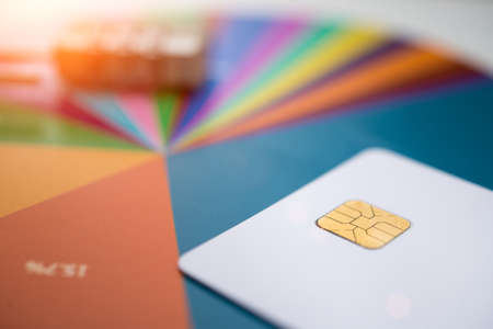 Credit cards and chart, close up business concept