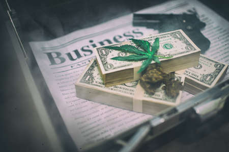 Business concept,Drug addict buying,Vintage tone
