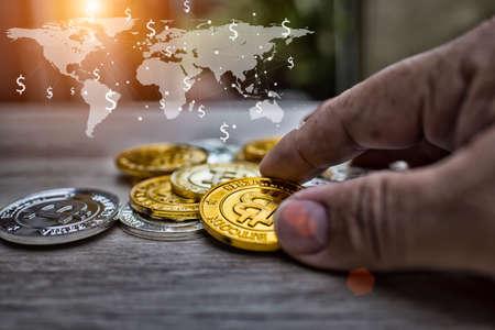 Businessman Holding Bitcoin recive world business,High dynamic range tone