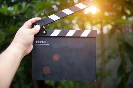 Clapper board,Movie clapper in hand