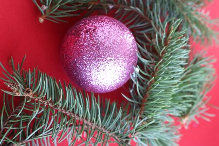 Christmas frame of fir branch and pink balls on a red background Фото со стока