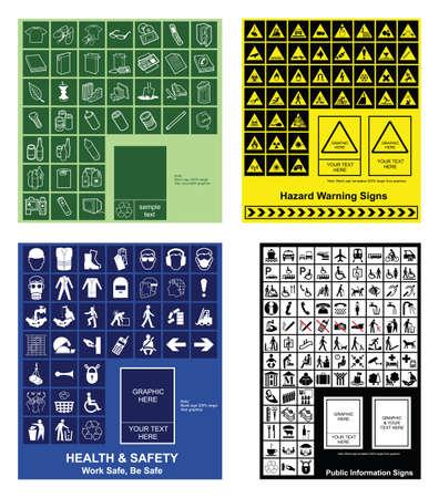 salud publica: Hacer su propio reciclado, advertencia de riesgo, la salud & seguridad y signos de informaci�n p�blica Vectores