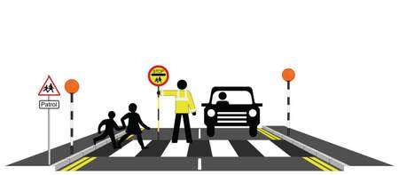 patrolman: Children walking across a zebra crossing with school patrolman Illustration