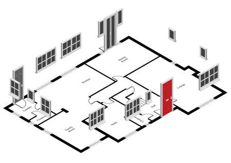 plan maison: Isom�trique de portes et fen�tres sur le plan de la maison Illustration