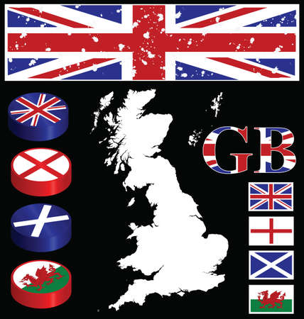 cymru: Great Briton collection of buttons flags map Illustration
