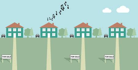 家販売の印の近隣諸国との負荷音楽を再生