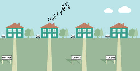 House playing load music with neighbours for sale signs Illustration