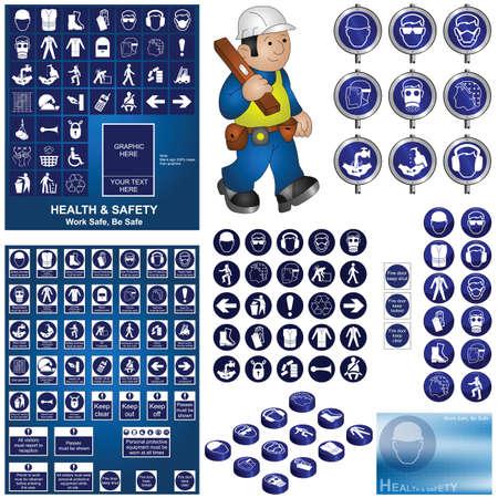seguridad e higiene: Construcci�n y colecci�n de salud y seguridad Vectores