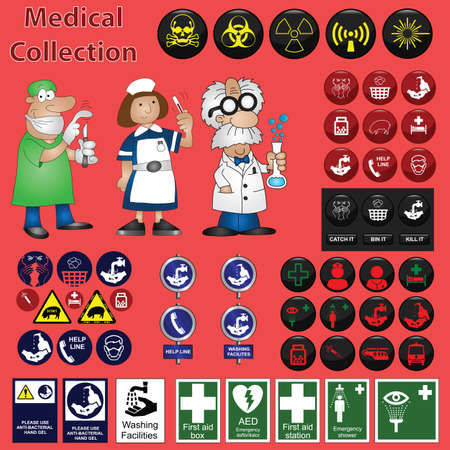 Medical related graphic collection including icons and cartoons Vector