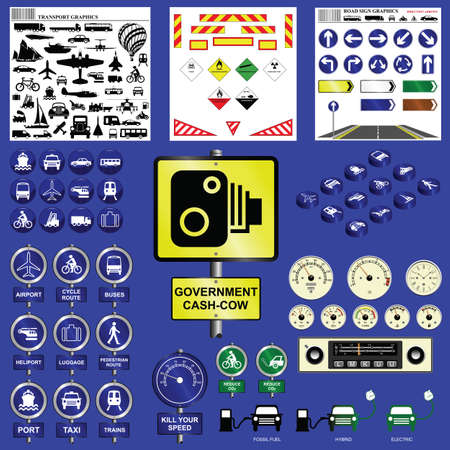motor coach: Transport collection including signs icons and much more Illustration