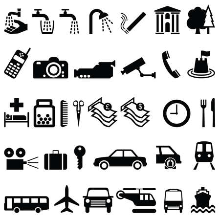 collection of signage objects and transport individually layered Vector