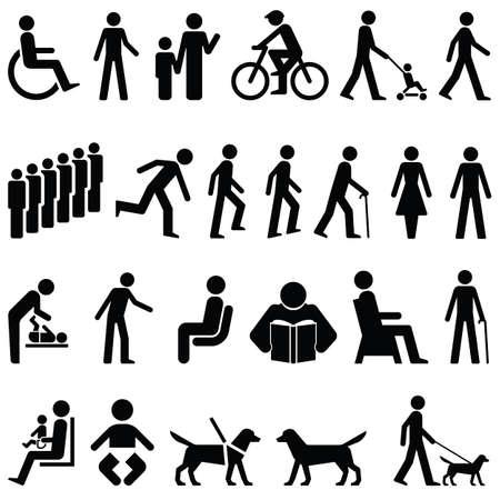 yürüyüş: collection of signage male, female and dog characters individually layered Çizim