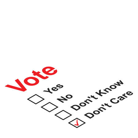 Ballot paper with the don't care box ticked Vector