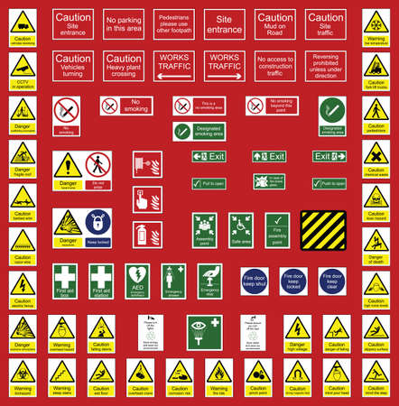 workplace safety: Construction industry and office signs individually layered Illustration