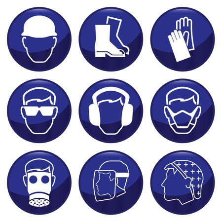 seguridad e higiene: Construcci�n obligatoria relacionados con el conjunto de iconos que cada uno individualmente en capas Vectores