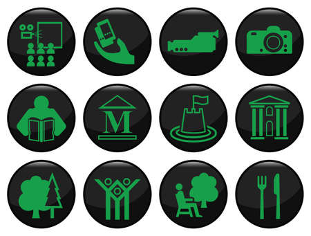 Entertainment and leisure related black icon set Vector