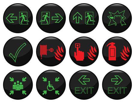 salida de emergencia: Fuego y escapar conjunto individualmente en capas de iconos de ruta negro