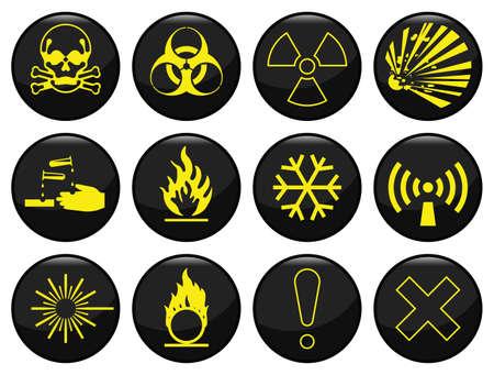 oxidising: Riesgo de alerta relacionado icono ajuste cada uno individualmente en capas Vectores