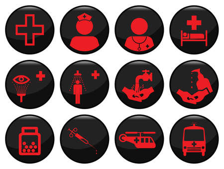 Medical related black icon set individually layered Stock Vector - 8576382