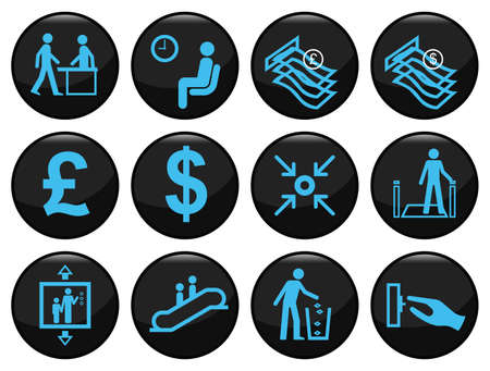 Business and office related black icon set
