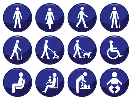 mutt: Set di icone segnaletica tipo persone che ciascuno individualmente a strati Vettoriali