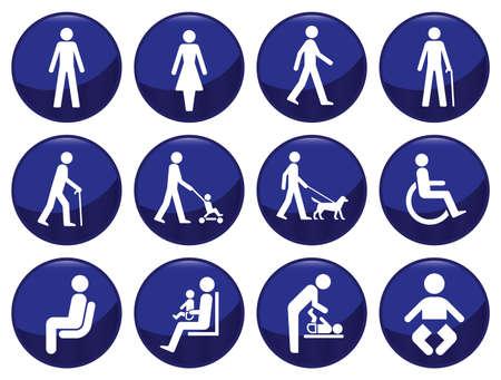 �ltere menschen: Signage Typ Menschen Icon Set jeweils einzeln geschichtet