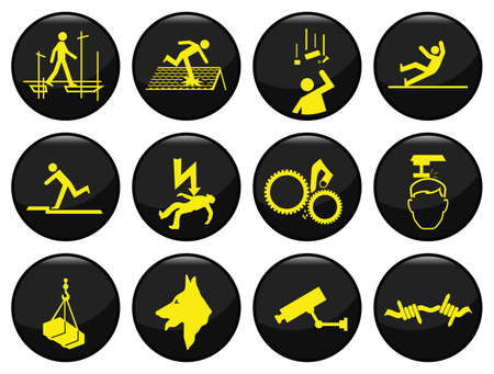 간접비: Safety and security black icon set individually layered 일러스트