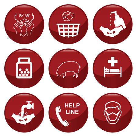 sanificazione: Collezione di icone H1N1 influenza suina individualmente a strati