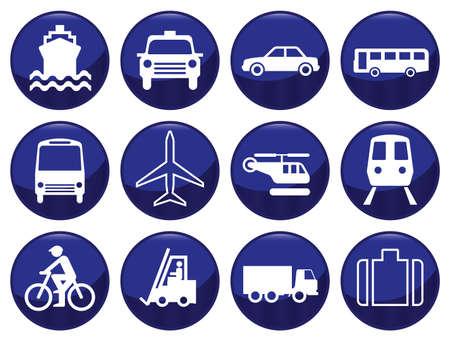 Icono de transporte establecido cada icono individualmente en capas Ilustración de vector
