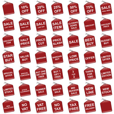 Various red retail pricing sale and offer tags Stock Vector - 8576386