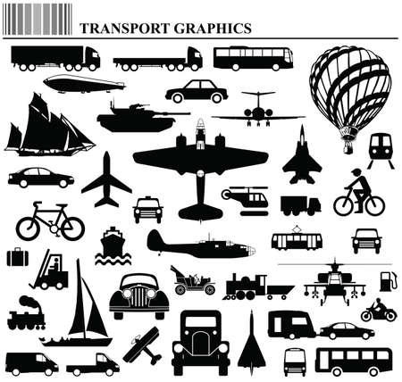 Modes of transportation graphic collection individually layered Vector