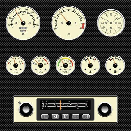 clock radio: Medidores de coche de estilos retro plenamente en capas